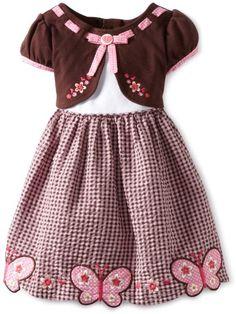 Amazon.com: Youngland Girls 2-6X Pink Brown Scalloped Hem Dress: Clothing