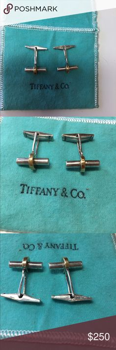 Tiffany silver/gold cufflinks. Pre owned Tiffany sterling silver/ gold men's cufflinks. Absolutely gorgeous! Classic design. Pre owned  in great shape. Comes with original blue cloth sak. Tiffany & Co. Accessories Cuff Links