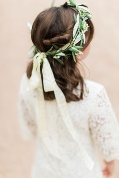 Earthy flower girl crown: http://www.stylemepretty.com/2016/04/11/wedding-with-earthy-floral-greenery/ | Photography: Loft Photography - http://www.loftphotography.com/
