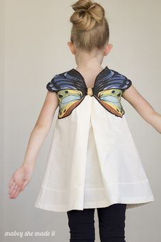 Design a fancy butterfly dress for your darling princess. This cute butterfly dress provide to give your darling an enchanting look Diy Clothing, Sewing Clothes, Clothing Patterns, Dress Patterns, Little Girl Fashion, Little Girl Dresses, Couture Bb, Butterfly Dress, Sewing For Kids