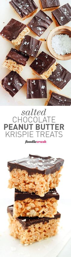 Salted Chocolate Peanut Butter Krispie Treats is an easy dessert and snack | foodiecrush.com