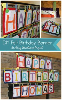 Celebrate birthdays with a DIY Felt Birthday Banner you can sew by hand to hang on a wall or mantle.