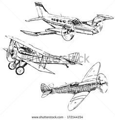 Propeller airplanes drawings on white background