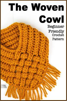 Crochet Tutorial Ideas The free crochet pattern for the Woven cowl is so much easier than it looks. This pattern works up quick and easy and is a great pattern for beginners. There is even a video tutorial. Crochet Snood, Crochet Motifs, Basic Crochet Stitches, Crochet Basics, Crochet Scarves, Crochet Clothes, Learn To Crochet, Easy Crochet, Free Crochet
