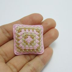 Tiny cushion for dollhouse scale 1:12, miniature granny square pillow in pink and brown, model #88