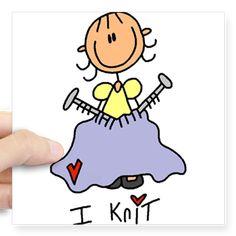 I Knit Stick Figure Square Sticker 3