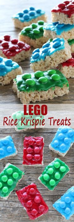 Lego Rice Krispie Treats from The Stay At Home Chef. Perfect for a Lego Birthday Party or a birthday treat for school. Kids will go crazy over these! Complete recipe and instructions with video tutorial.