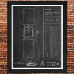 Cartier: The Tank Watch. Slate Print by FetchDesignCo on Etsy