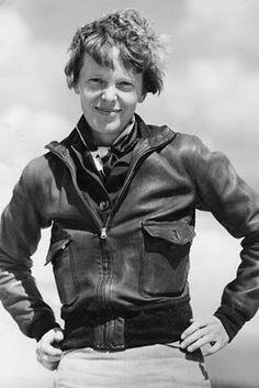 Amelia Earhart from West Lafayette, Indiana, a pioneer female aviator