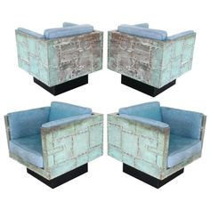 Paul Evans Verdigris Copper Cube Chairs - 1stdibs