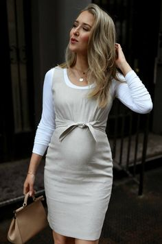 Get Your Summer Event Style Situation Together // Natural linen blend tie front sheath dress, white scoop neck long sleeve tee{ Ann Taylor, classic st. Maternity Work Clothes, Cute Maternity Outfits, Stylish Maternity, Pregnancy Outfits, Maternity Wear, Maternity Fashion, Maternity Dresses, Pregnant Dresses, Summer Maternity Style