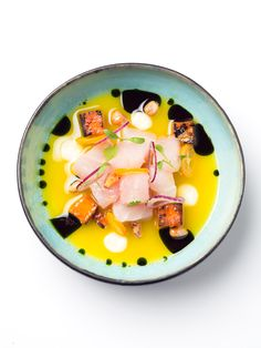 sea bass ceviche with kumquats and leche de tigre