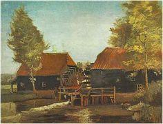 Molino de agua en Kollen cerca de Nuenen Vincent van Gogh Pinturas, Óleo sobre tela sobre cartón Nuenen: mayo, 1884 Colección privada F: 48a, JH: 488