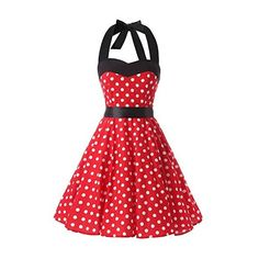 Red White Polka Dot 1950s Inspired Halter Neck Rockabilly Vintage... ($17) ❤ liked on Polyvore featuring dresses, red, halter top, vintage white dress, white halter top, red halter top and short red dress