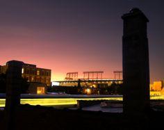 wrigley field at sunset