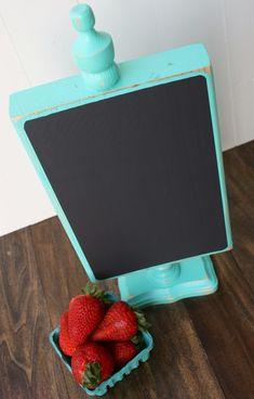 DIY Tutorial Wood Pedestal Chalkboard using 2x8, finial, candlestick, chalkboard paint....so easy