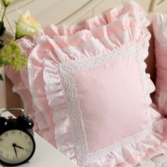 Cheap cushion cover, Buy Quality cotton pillow covers directly from China cushion cover embroidered Suppliers: White European embroidered cushion cover ruffle Lace Satin cotton pillow cover handmade elegant bedding pillowcase sofa cushion Pillow Covers, Draps Design, Ruffle Pillow, Embroidered Cushions, Shabby Chic Pink, Sewing Pillows, Baby Pillows, How To Make Pillows, Patchwork Quilting