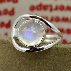 Solid Silver Ring Rainbow Moonstone Gemstone by DevmuktiJewels