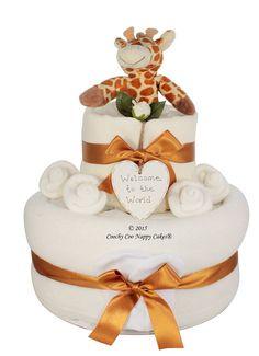 Unisex Baby Gift Giraffe Rattle Nappy Cake
