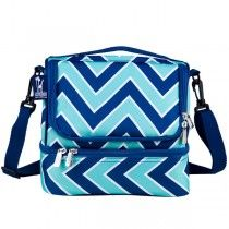 Dual Compartment Lunch Bags - Chevron Sea Breeze - Available now on Becky & Lolo