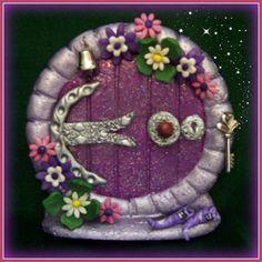 Purple Hobbit Door Herculite by CharmedFairyDoors on Etsy Polymer Clay Projects, Polymer Clay Art, The Hobbit, Hobbit Door, Create A Fairy, Kobold, Clay Fairies, Fairy Crafts, Fairy Doors