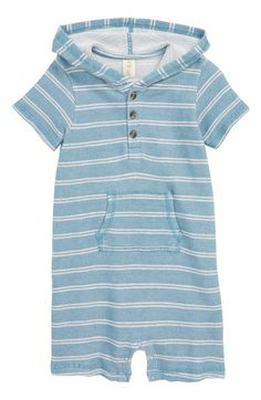 Tucker+Tate Stripe Hooded Romper,                         Main,                         color, Blue Chambray- Ivory Stripe