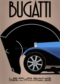 Bugatti art deco poster giclee print by NewVintagePosters on Etsy, £69.00