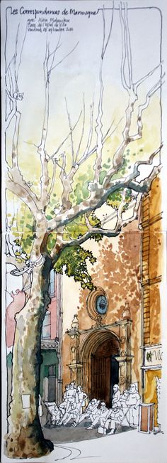 Urban Sketchers France More Urban Sketchers, Pen And Watercolor, Watercolor Paintings, Watercolor Trees, Watercolor Artists, Watercolor Portraits, Watercolor Landscape, Watercolours, Art And Illustration
