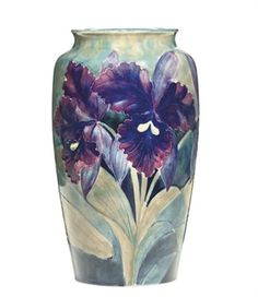 A WILLIAM MOORCROFT 'ORCHID' POTTERY VASE  CIRCA 1920
