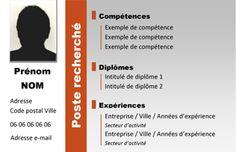 MODELE DE MINI CV FORMAT CARTE VISITE