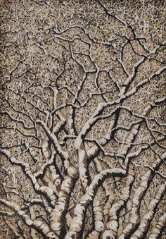 Original Hand Pulled Fine Art Woodblock Print  Tree by starkeyart