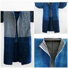 6c685ff7294 Long Noragi Sashiko Stitching. Famer s Jacket of Semi-Processed.Japanese  Antique Fabric.Beautiful Indigo dyed.Aizome Kimono.11211