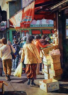 Chinese food market: artist Fran Mangino has captured some brilliant color in this watercolor. Watercolor Portraits, Watercolour Painting, Watercolours, Cityscape Art, Watercolor Landscape, Art Market, Indian Art, American Artists, Painting Inspiration