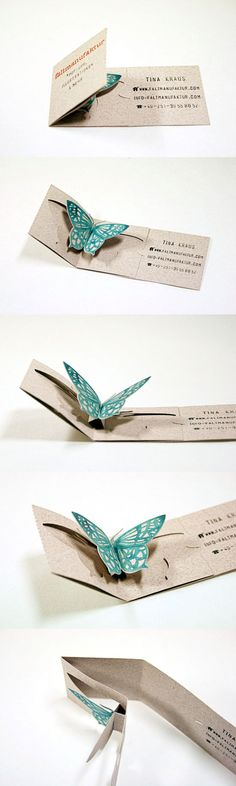 Faltmanufaktur Unique Folding Business Card and gr. Faltmanufaktur Unique Folding Business Card and great idea for card or invitation businesscarddesig. Folded Business Cards, Unique Business Cards, Business Card Design, Corporate Business, Fancy Fold Cards, Folded Cards, Wedding Card Design, Diy Wedding Cards, Butterfly Cards