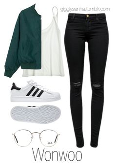 """Casual City Date // Wonwoo"" by suga-infires ❤ liked on Polyvore featuring J Brand, Ray-Ban, Calypso St. Barth and adidas"