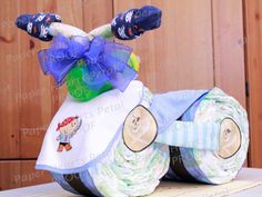 Deluxe Pirates Theme Tricycle Diaper Cake  by PaperHeartsPetal, $65.00
