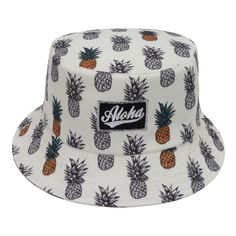 Unisex Boonie Hawaiian Bucket Hat White Pineapples Fruit Fishing Outdoor Sun Cap #Goldtop #Bucket