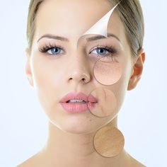 ... with problem and clean skin, aging and youth concept, beauty treatment