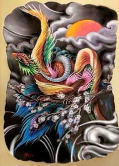 Traditional japanese phoenix drawing google search for Huma bird tattoo