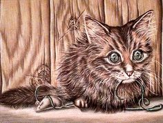 Original Drawing Cute Kitten with Yarn by ArtistrybyLisaMarie