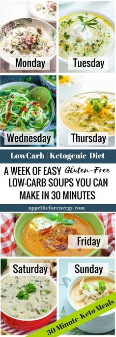 Forget soups that need to be simmered for hours on end. Get the recipes for a week of hearty, low-carb soups that you can make in 30 minutes or less. FOLLOW us for more 30 Minute Recipes. PIN & CLICK through to get the recipes! |Low-carb diet soup |ketogenic diet soup |keto diet recipes |keto soup| gluten free soup recipes|Low carb dinner recipe| easysouprecipes #Ketosoup #LowCarbSoupRecipes #KetogenicSoupRecipes #BuffaloChickenSoup via @appetitefornrg