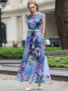 Ericdress Flower Print Round Neck Short Sleeve Expansion Maxi Dress Maxi Dresses