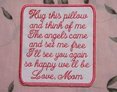 Memory Pillow Patch Sew On Patch for by ChickaTweeBagsEtc on Etsy