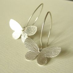 Floating Butterfly Earrings - Silver