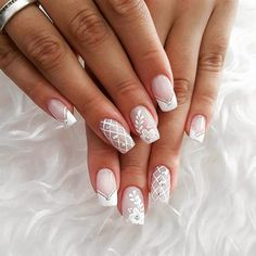 How to choose your fake nails? - My Nails French Nail Art, French Nail Designs, Nail Art Designs, Hair And Nails, My Nails, Nagellack Design, Bridal Nail Art, Bride Nails, Wedding Nails For Bride