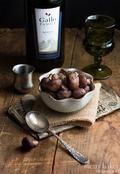 Grilled Mushrooms with Merlot Reduction | www.themessybakerblog.com #SundaySupper