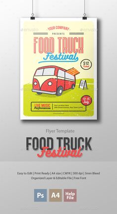 Food Truck Festival Flyer Template  #bread #cafe #cake • Available here → http://graphicriver.net/item/food-truck-festival-flyer-template/15682089?ref=pxcr
