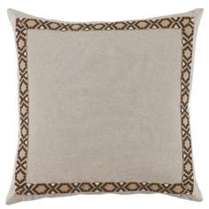 D952 Lacefield Danish Linen 24x24 Pillow with Camden Tape  www.lacefielddesigns.com #neutraldecor #pillows #interiors #lacefielddesigns