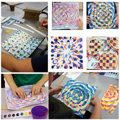 paper weaving with a twist - we used this idea for art summer camp where students went into the galleries and sketched two paintings in the collection and used those sketches for watercolor weaving project