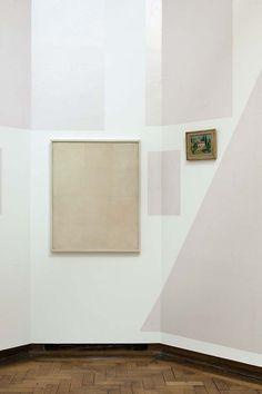 """""""Les Salles des Ombres et des Lumières"""", work in situ, in Daniel Buren """"A fresco"""", Center for Fine Arts, Brussels, 2016, details, from left to right: Piero Manzoni, Francis Pasquier"""